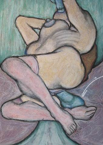 """Absynthe (Green fairy double take)""pastel drawing"