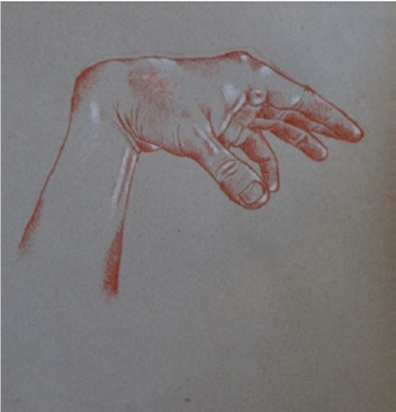 """Study of hand, and horizon"" - white/sanguine red chalk pastel - 2012"